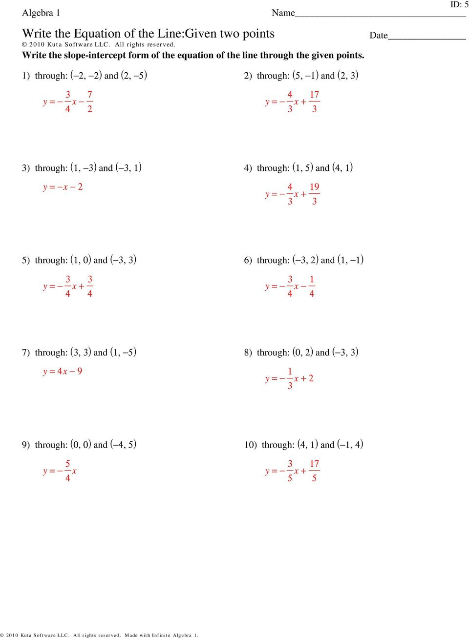 Write The Equation Of The Line:given Two Points - Pdf Free