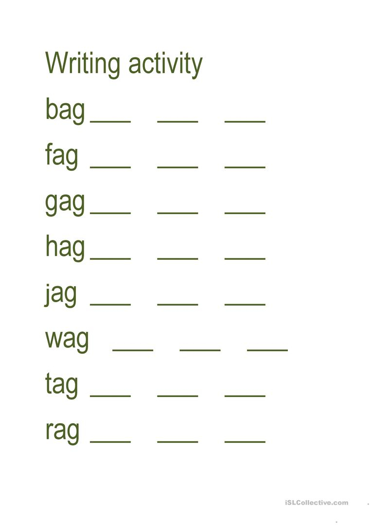 Write Three Letter Word - English Esl Worksheets For