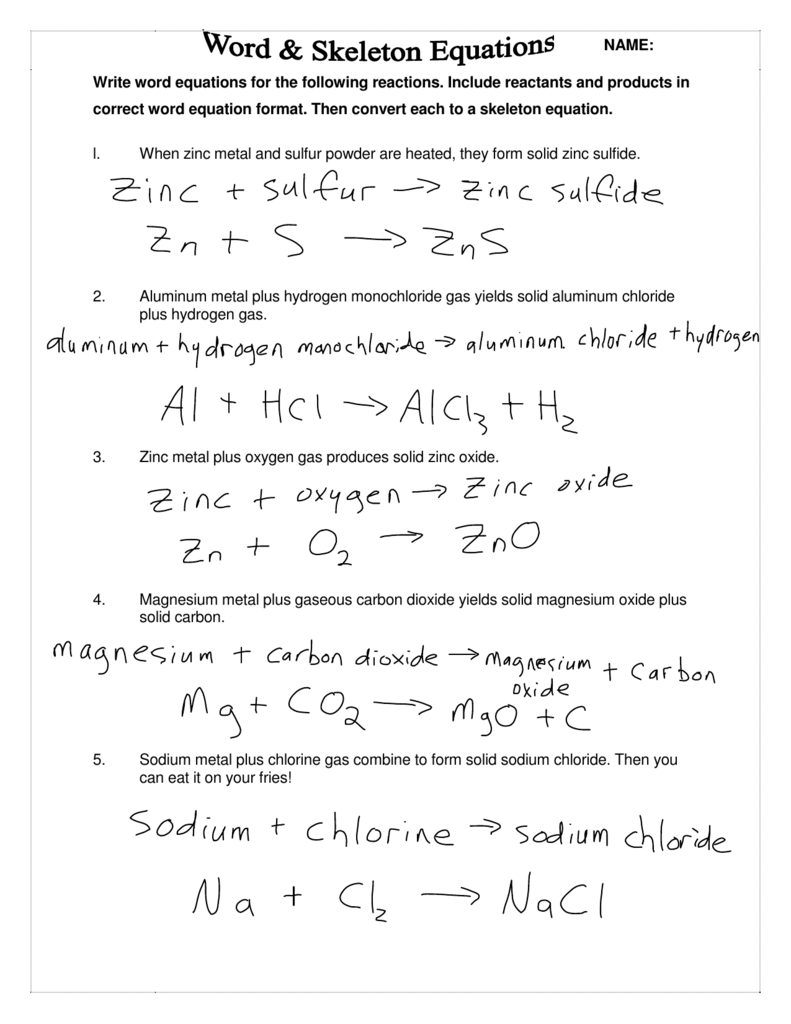 Write Word Equations For The Following Reactions. Include