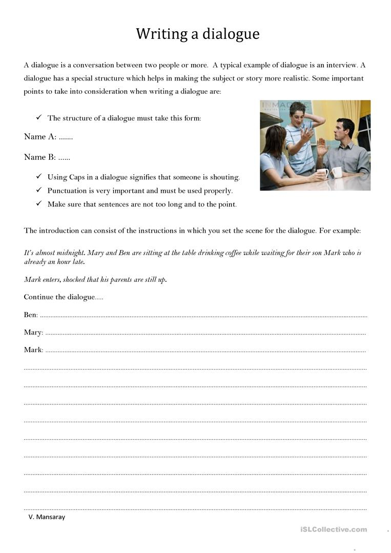 Writing A Dialogue - English Esl Worksheets For Distance