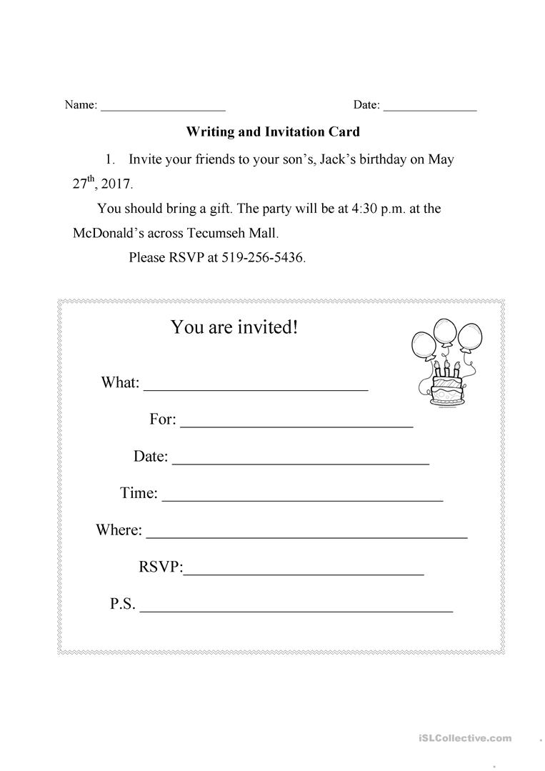 Writing An Invitation Card - English Esl Worksheets For