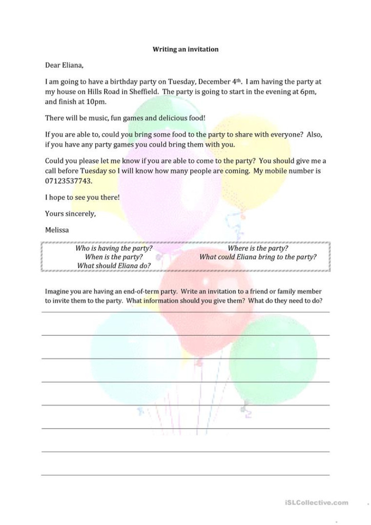Writing An Invitation   English Esl Worksheets For Distance