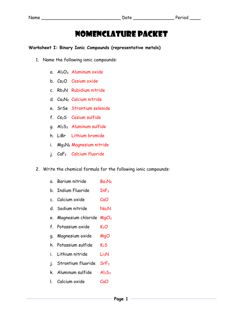 Writing Chemical Formulas For Covalent Compounds Worksheet