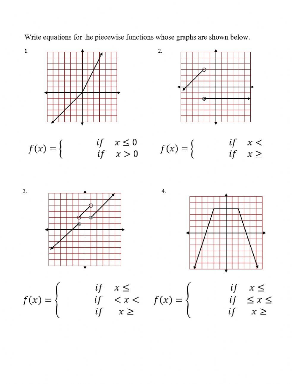 Writing Equations Of Piecewise Functions Worksheet
