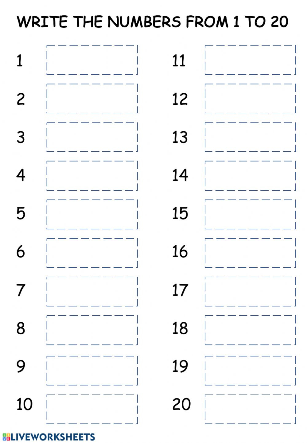 1 To 20 Writing Worksheets