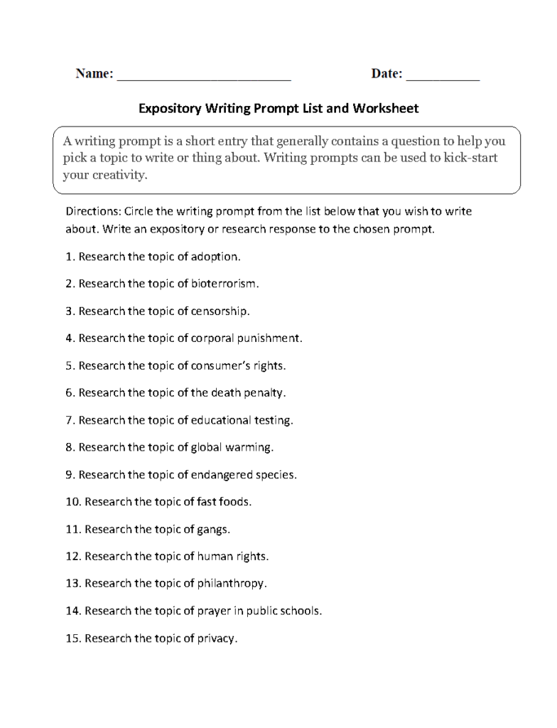 Writing Prompts Worksheets   Informative And Expository