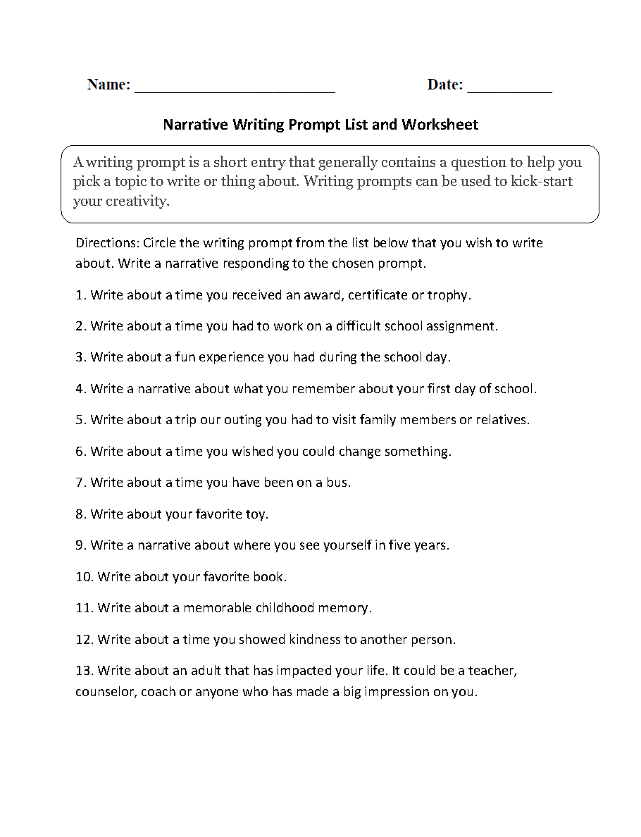 Writing Prompts Worksheets | Narrative Writing Prompts