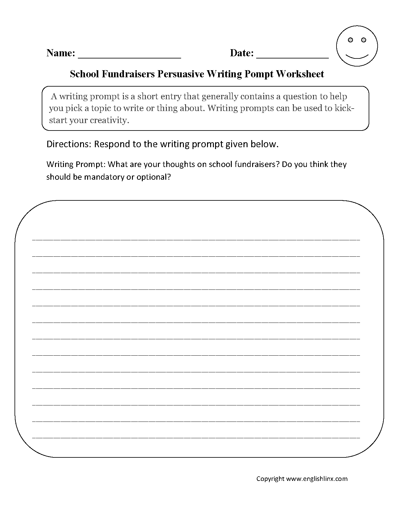 Writing Prompts Worksheets | Persuasive Writing Prompts