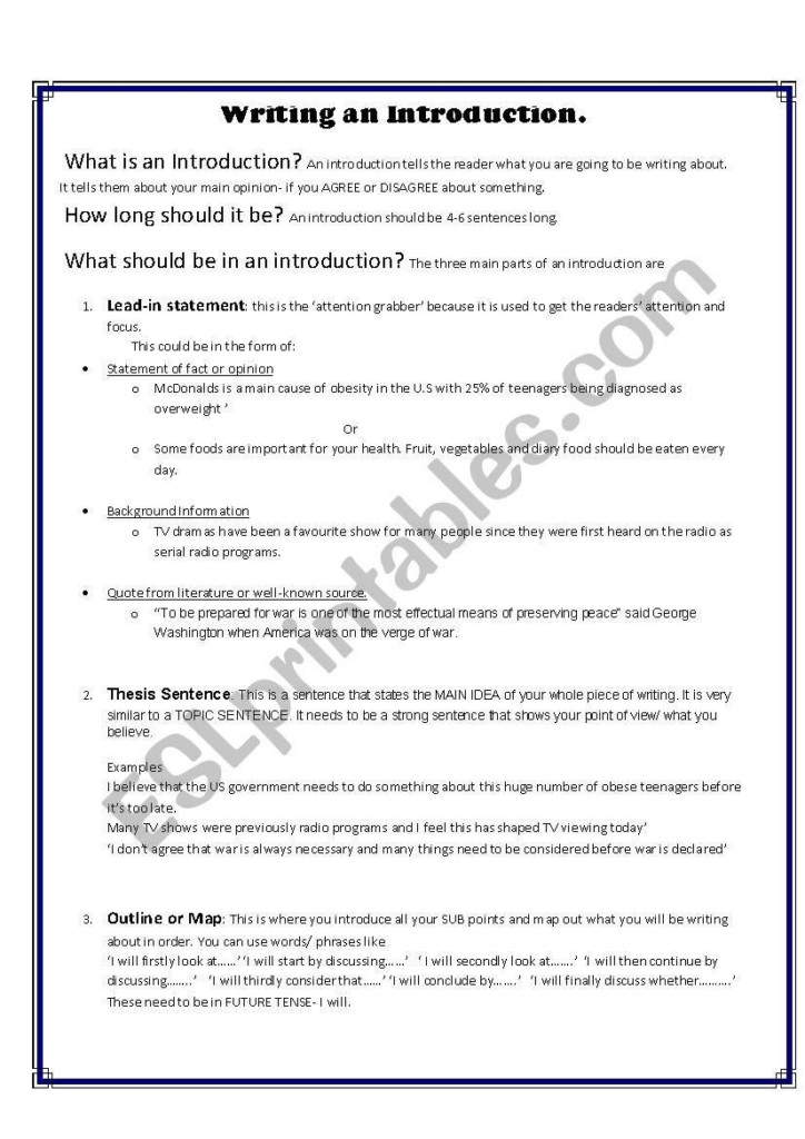 Writing Strong Leads Worksheet Writing An Introduction For