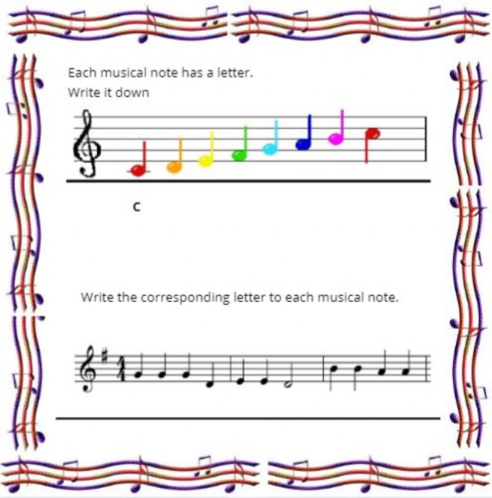 Writing The Musical Notes Worksheet