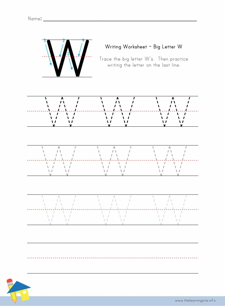 Big Letter W Writing Worksheet The Learning Site