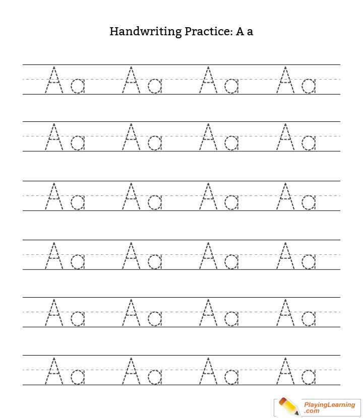 Letter A Handwriting Worksheets